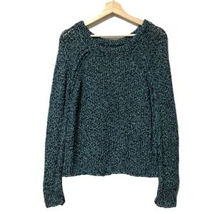 Free People Blue Marled Chunky Knit Sweater